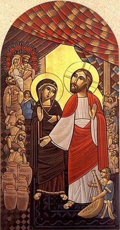 John 2-8 Miracle Wedding at Cana Coptic icon