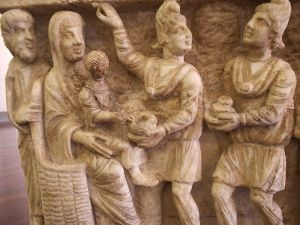 Magi bear gifts to an infant Jesus (one of the earliest-known depictions, 3rd century sarcophagus) Vatican Museums - Rome, Italy