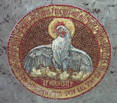 Luke 13-34 under His wings, mosaic