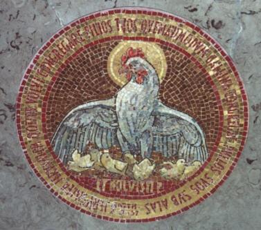 Luke 13-34 under His wings, mosaic