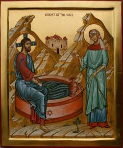 Jesus and woman at well icon