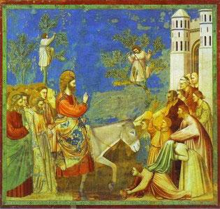 Jesus Palm Sunday - Giotto di Bonde, Entry into Jerusalem 1304-06, Fresco, Cappella Scrovegni Arena Chapel, Padua