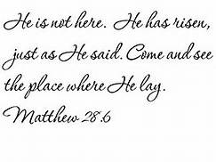 Matt 28-6 He is not here, cursive