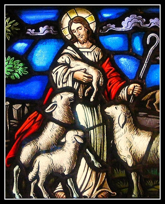 John 14 Good Shepherd, stained glass