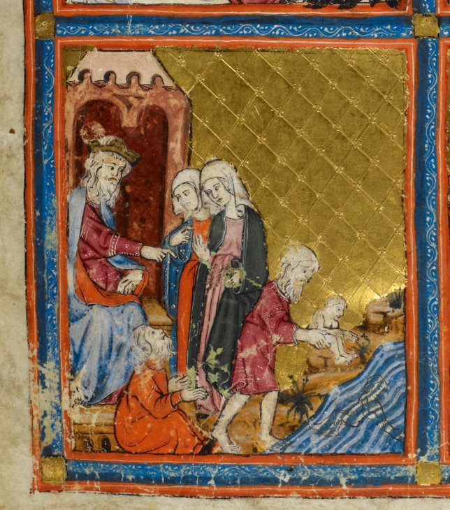 Exod 1 Pharaoh and the Midwives, Golden Haggadah, Catalonia, early 14th century, British Library,