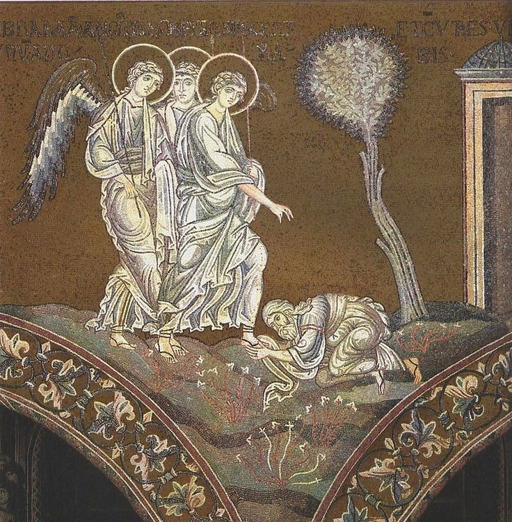 Exod 18 Abraham bends down before Holy Trinity - angelic visitors at Mamre - mosaic in Monreale Cathedral