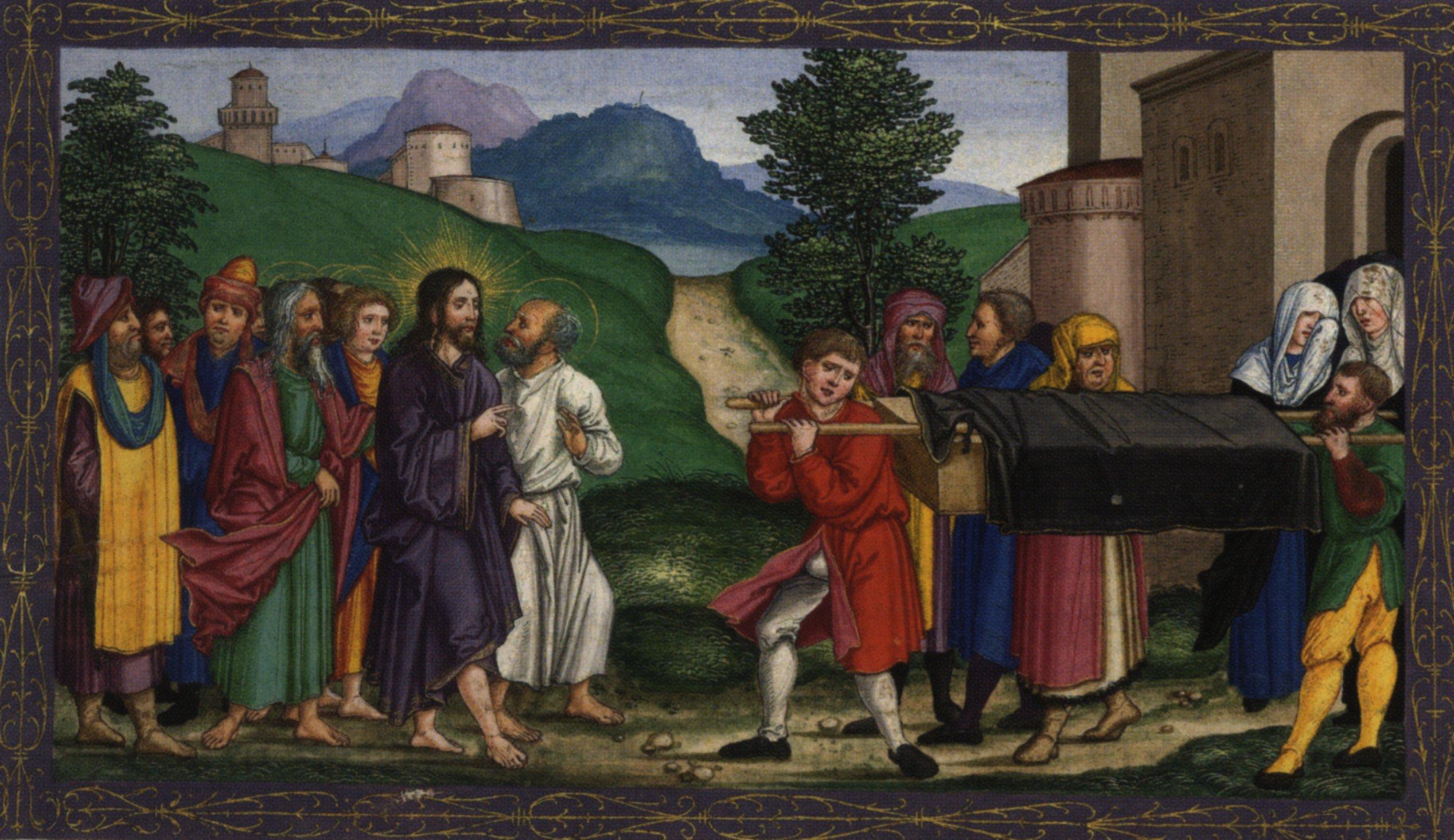 Luke 7-10 widow's son Ottheinrich_Folio081v_Lc7B