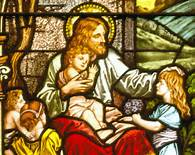 Luke 18-16 Jesus, children, stained glass