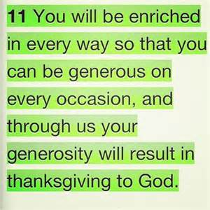 2 Cor 9-11 thanksgiving, words