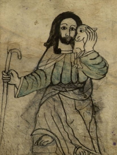 Jesus Good Shepherd_BnF_Ethiopien_389_fol_1v