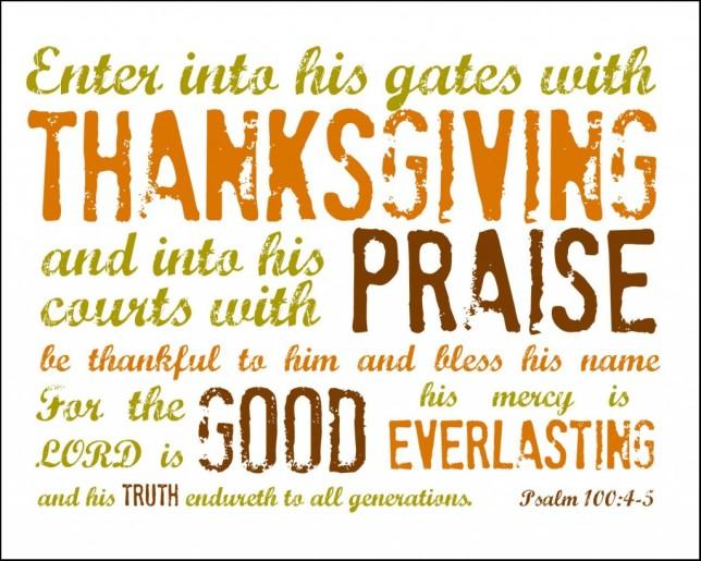 Psa 100 thanksgiving, praise