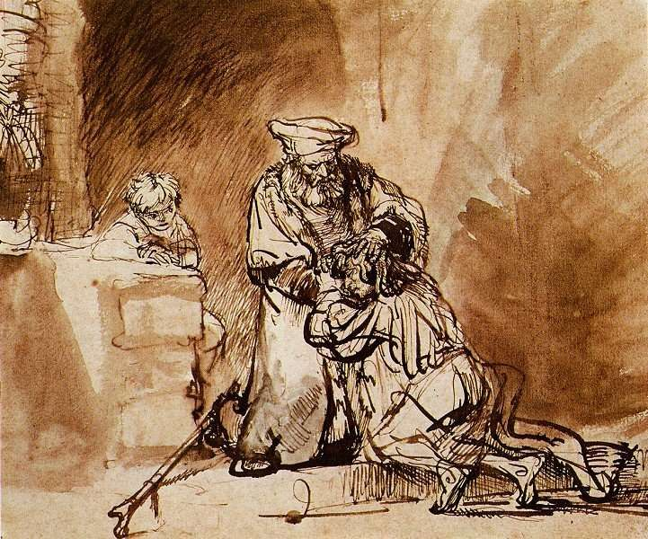 Luke 15 prodigal son sketch, Rembrandt
