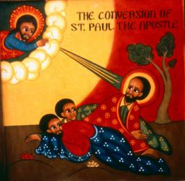 Acts 9 conversionofsaintpaul - ethiopian icon