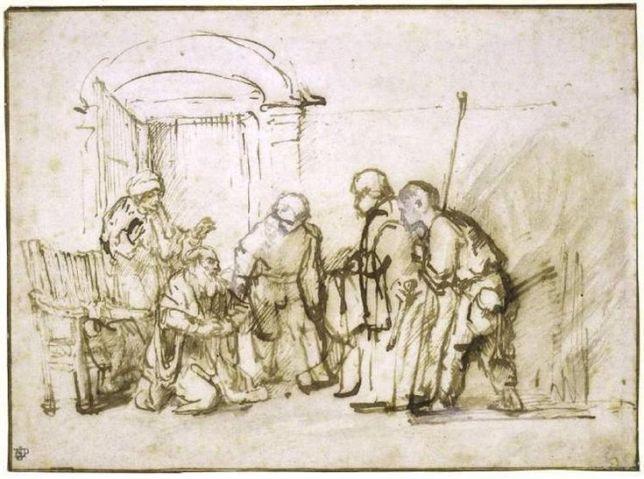 Gen 37 Jacob shown bloodstained coat - Rembrandt