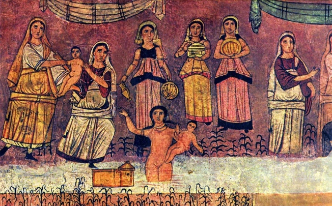 Exod 2 Pharaoh's daughter and Moses in the Dura-Europos synagogue fresco, c. AD 244
