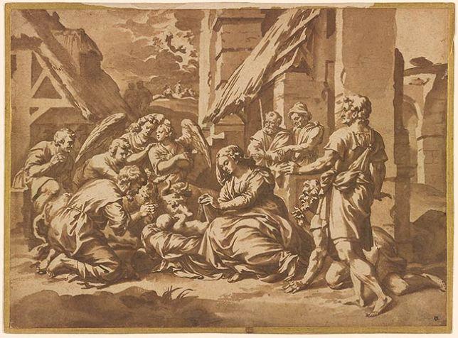 Shepherds adore the Christ child, Jan de Bisschop