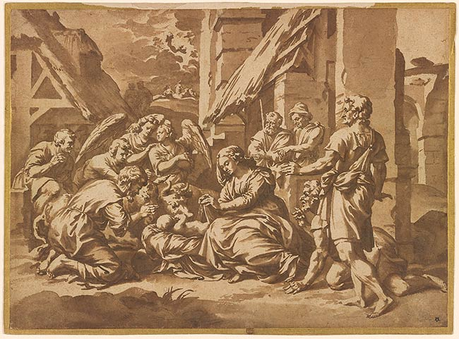 Shepherds adore the Christ child, Jan de Bisschop