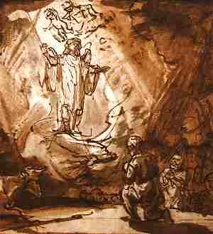 Luke 2-10 angels, shepherds, Rembrandt 1635