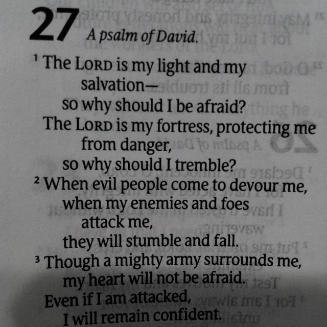 Psa 27-1 fear, afraid, words