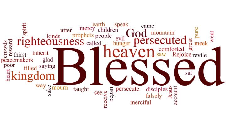 Matt 5 beatitudes, word cloud