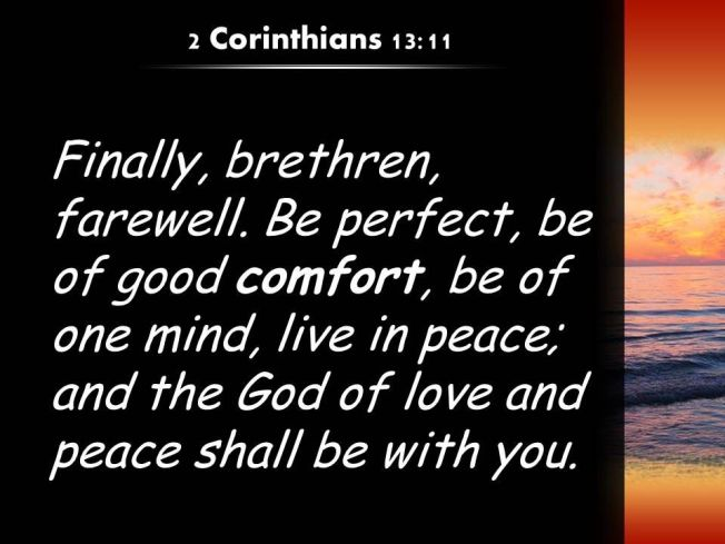 2 Cor 13-11 God of love peace words